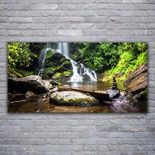 Glasbilder Wandbild Druck auf Glas 120x60 Wasserfall Steine Wald Natur