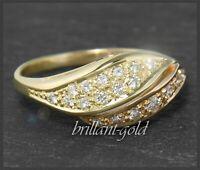 Brillant Damen Gold Ring 0,40ct Diamanten, 585 Gelbgold & Rosegold Cocktailring