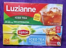 Lipton Iced Tea Bags & Luzianne Decaffeinated Tea Bags 24 Count (48 Total)