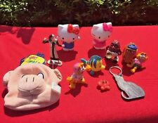 GARFIELD Hello Kitty CAT'S MEOW Keychain Coin Purse California Raisin Toys LOT