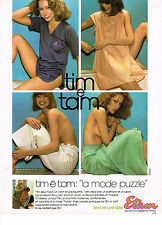 PUBLICITE ADVERTISING 044   1976  ETAM  lingerie pyjamas nuisettes TIM é TAM