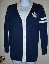American Living Girls V-Neck Long Varsity Cardigan Sweater Navy L/12-14 NWT