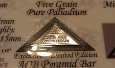 ACB Pyramid Palladium 99.9 Pure 5Grains Bullion PD Bar COA Included VERY RARE !