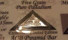 ACB Pyramid Palladium 99.9 Pure 5Grains Bullion PD Bar COA Included VERY RARE $