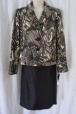 Evan Picone Petite Suit Sz 14P Black Multi Port Elizabeth Taffeta Skirt Suit