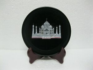 08 Inches Round Marble Corporate Plate with Luxurious Look Table Master Piece