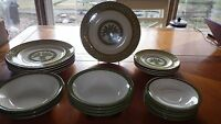 Vintage Dinnerware Set Monarch USA Green Wheat Laurel Leaf Design 23 pieces 1950