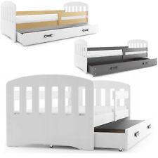 Kinderbett classic mit Matratze und Schublade 160x80  weiß-graphit