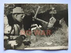 WWII ORIGINAL SOVIET PHOTO PARTISAN KOROTKOV W PPSh GUN TALKS W WOUNDED 1943