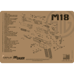 For Sig Sauer M18 PREMIUM Armorers Cleaning Bench Mat Made in USA FDE