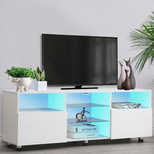 TV Unit Cabinet TV Stand Modern Sideboard Body Doors LED Light Furniture 145CM