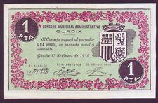 BILLETE LOCAL - CONSEJO ADMINISTRATIVO GUADIX (GRANADA) - 1 PTA - AÑO 1938 . SC