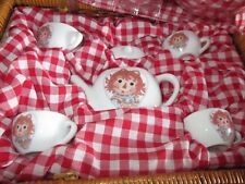 Raggedy Ann and Andy China Ceramic Child's Tea Set In Wicker Case by Schylling