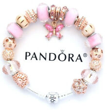 PANDORA Silver Bracelet With ROSE GOLD PINK MOM FAMILY BUTTERFLY European Charms