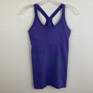 Lululemon Ebb to Street Tank Top Size 4 Purple Heathered Iris Flower Seamless