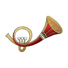 ID 9194 French Horn Patch Musical Wind Instrument Embroidered Iron On Applique