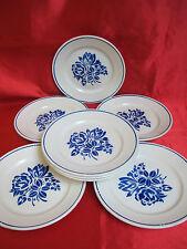 8 assiettes plates en faïence de BADONVILLER fleurs bleues