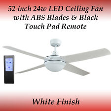 Rotor 52 inch LED Ceiling Fan in White with ABS Blades + Black Touch Pad Remote