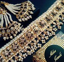 Indiano Nuziale Gioielli Set, placcato in oro Orecchini Collana Girocollo Perle