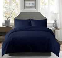 ** New 3PCs Duvet Set (All Size UK) 1000 TC Egyptian Cotton Navy Blue Solid