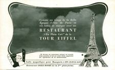 Publicité ancienne restaurant Tour Eiffel 1951 issue de magazine