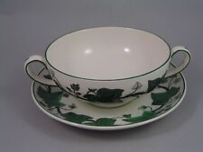 WEDGWOOD GREEN NAPOLEON IVY TWO HANDLED SOUP COUPE AND SAUCER.