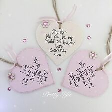 Personalised Will You Be My Bridesmaid, Flower girl, Maid Of Honour Heart Plaque