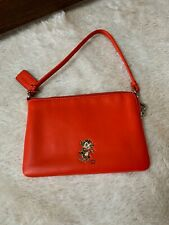 COACH X Baseman Corner Zip Wristlet in Red Orange Leather - Limited Edition