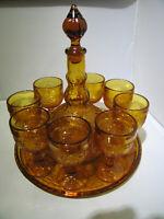 Vintage Indiana Amber Tiara Sandwich Glass 11 piece Wine Set