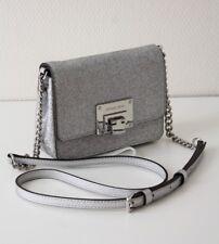 MICHAEL KORS TASCHE/Umhängetasche TINA SM CROSSBODY Leather silver mit Glitzer
