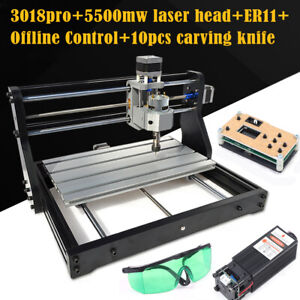 CNC 3018 PRO Router 3 Axis Engraving Engraver+ Offline Control+5500mw Laser Head