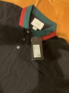 GUCCI Polo Mens Shirt Pocket Color Black  - Size 3XL
