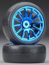 Traxxas 7573R LaTrax Rally Tires / Wheels Assembled / Glued 12-Spoke Blue (2)