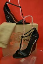 BURBERRY PRORSUM COMMERCIAL HOBART 100 BLACK LEATHER CHECK WEDGE SANDALS 40.5