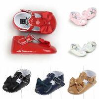 Newborn Pram Shoes Bow Princess Baby Girls PU Soft Prewalker Anti-slip Crib Sole