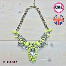 Nueva Neon Yellow Cristal ala declaración Collar Gargantilla Joyería Mujer Damas del Reino Unido
