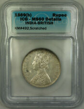 1889(b) India-British Silver 1 Rupee ICG MS-60 Details Scratched KM#492