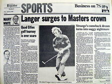 Best 1985 hdlne display newspaper BERNHARD LANGER wins MASTERS GOLF CHAMPIONSHIP