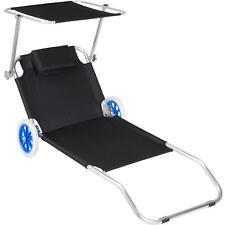 Chaise longue de plage jardin pliante transat bain de soleil toit aluminium noir