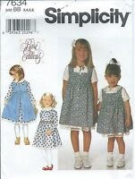 S 7634 sewing pattern sweet DRESS & square neck PINAFORE sew sizes 3,4,5,6 UNCUT