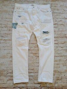 Polo Ralph Lauren Sullivan Slim Distressed Painter Style Jeans White W34 L30