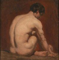 ZOPT1177 100% handmade sitting naked man portrait art OIL PAINTING art on CANVAS