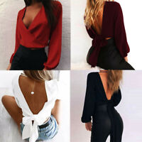 Sexy Women Long Sleeve Wrap T Shirt Deep V Neck Backless Bandage Blouse Crop Top