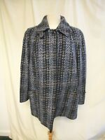 Ladies Coat size L, EUR 44, blue/black textured check, pure wool, used 0808