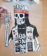 Dead rock skeleton vinyl hotfix transfer style patch applique motif costume