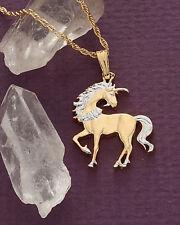 "Unicorn Pendant & Necklace China Hand cut Coin 7/8"" Diameter ( # 484B )"