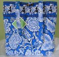 Vera Bradley Blue Lagoon Tote Tortoise Toggle Button Book Blue White New w/o Tag