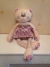Mamas & Papas Bear Tiger Soft Toy In Pink Floral Dress Cream Pink Plush