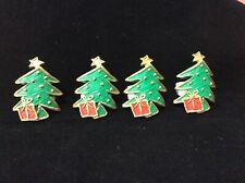 Lot VTG Aukey Napkin Holders Rings 4 Christmas Tree Xmas