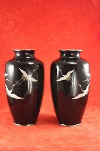 "Pair Vtg Sato Japanese Black Cloisonne Mirror Image 7¼"" Vases w Red Crown Cranes"